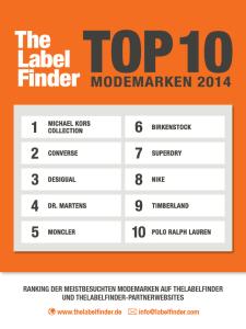 TheLabelFinder: Die Top 10 Modemarken 2014