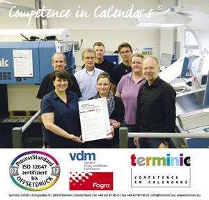 Werbekalenderhersteller terminic, bekannt für Qualtität made in Germany, erneut für den anspruchsvollen Kartonagendruck PSO zertifiziert