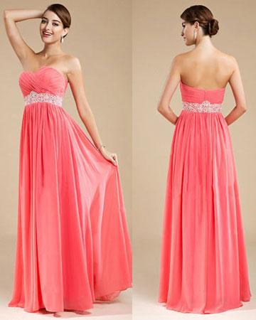 Robe soirée rose corail longue pour mariage