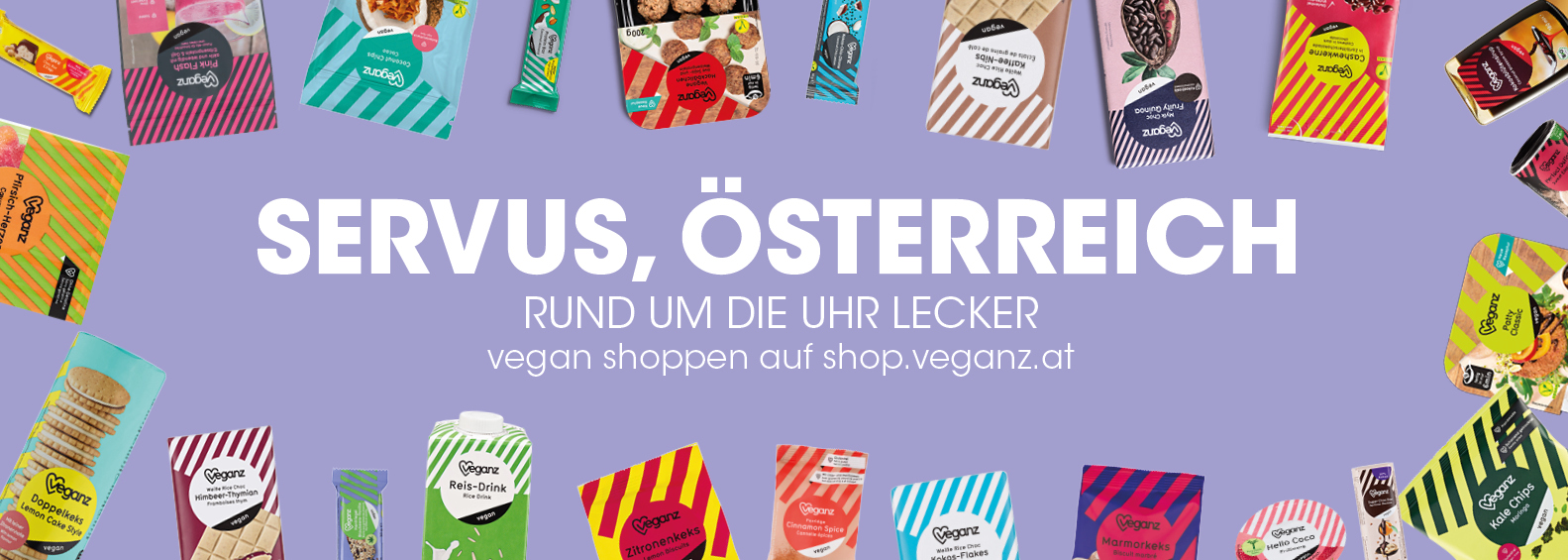 Vegan online shoppen in Österreich mit Veganz. Servus Österreich - Rund um die Uhr lecker mit dem Veganz Onlineshop