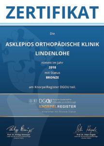 KnorpelRegister-Zertifikate_Lindenlohe_Bronze_2018_300kb-215x300 Asklepios Orthopädische Klinik Lindenlohe: Bronze-Status im KnorpelRegister der Deutschen Gesellschaft für Orthopädie und Unfallchirurgie