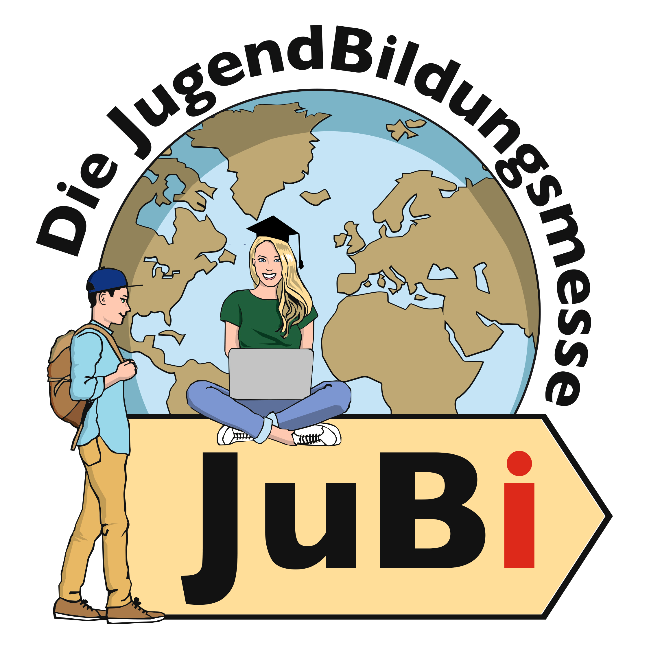 JuBi · JugendBildungsmesse · Logo · weltweiser