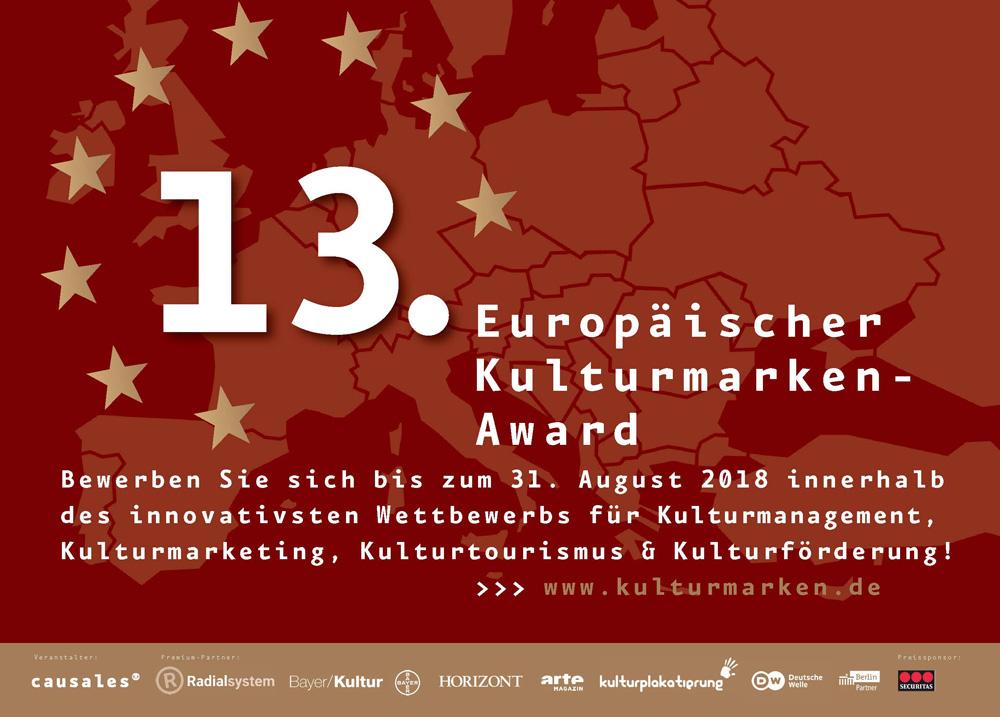 """Ausschreibung der 13. Europäischen Kulturmarken-Awards startet mit der neuen Kategorie """"Europäischer Preis für Medienkultur 2018"""""""
