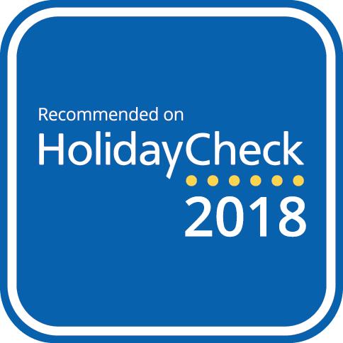 HSVM-Recommended-on-HolidayCheck Das Hotel Suite Villa María ist eines der bestbewerteten Hotels auf HolidayCheck