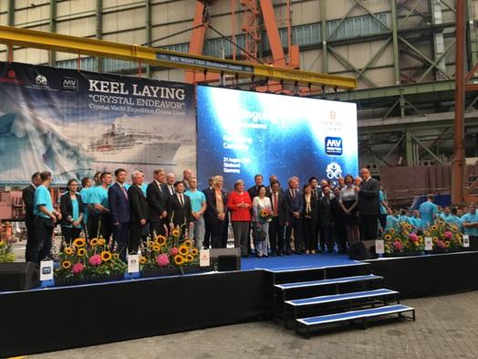 Kiellegung der Crystal Endeavor am 21.08. auf dem Gelände der MV WERFTEN in Stralsund: Crystal Cruises feiert den nächsten Meilenstein in der Konstruktion der Luxus-Expeditionsyacht