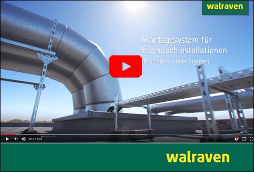 Walraven-Montagesystem zur Aufständerung von Flachdachinstallationen