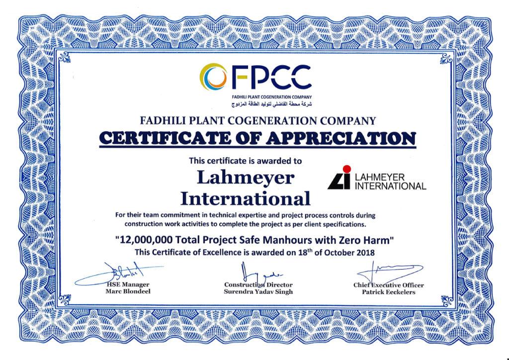 Certificate-of-Appreciation-to-LI-1024x724 Auszeichnung für 12 Millionen unfallfreie Arbeitsstunden