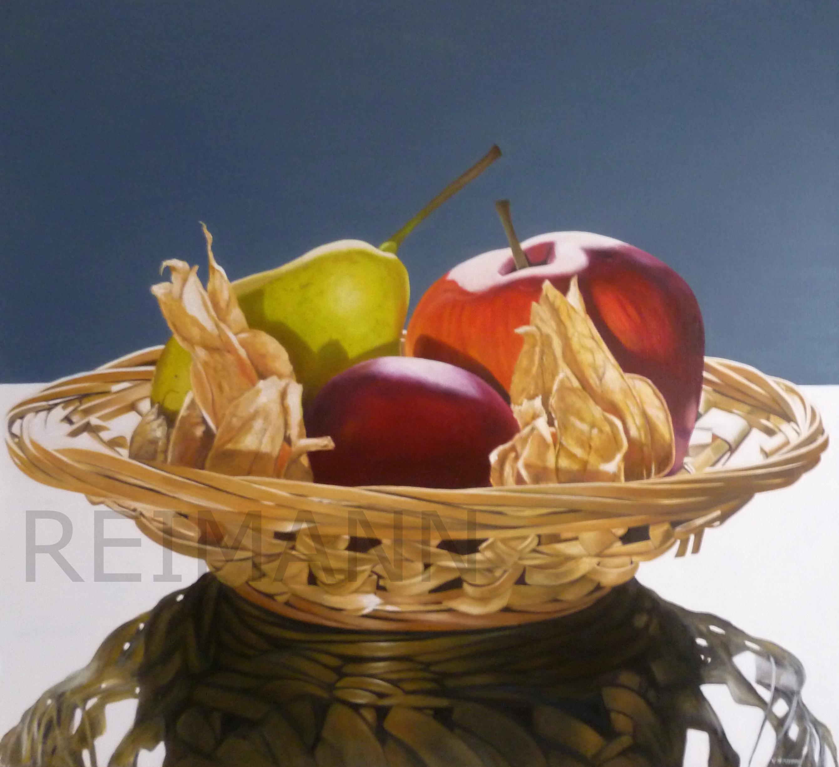 Ölgemälde mit Korbschale und Obst