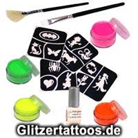 Komplette Glittertattoo-Sets mit vielen beliebten Vorlagen