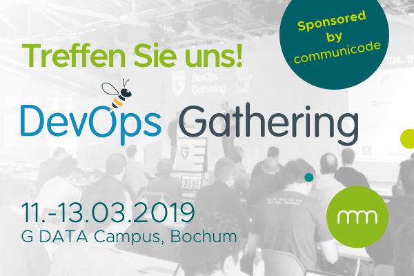 Pressemitteilung-DevOps-Header communicode ist Sponsor auf der DevOps Gathering 2019 in Bochum