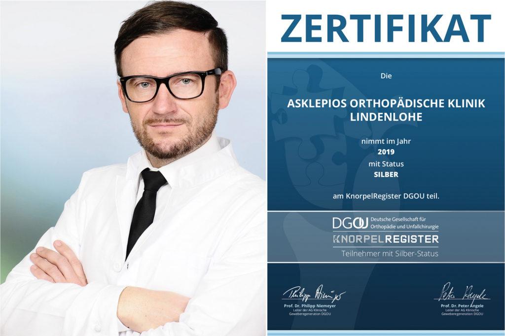 Silber-Status im DGOU-KnorpelRegister für die Asklepios Orthopädische Klinik Lindenlohe