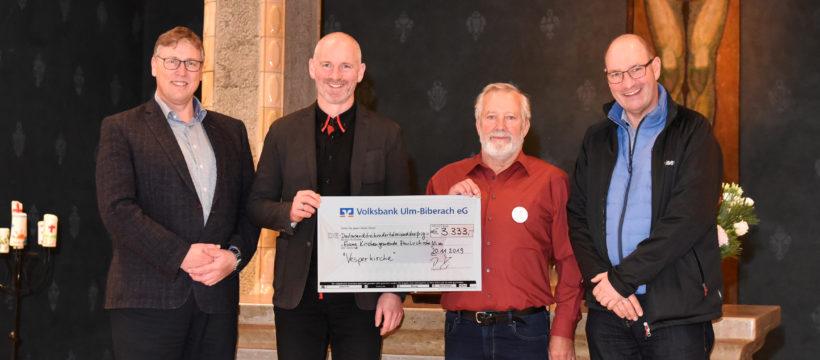 v.l.n.r: Reinhold Köhler, Pfarrer Peter Heiter, Gunter Scheitterlein und Harald Kretschmann