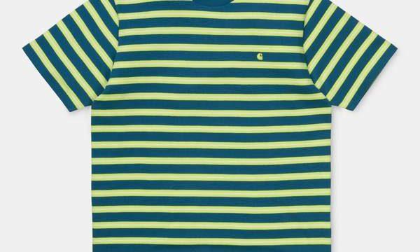 Workwear / Streetwear: Carhartt Oakland T-Shirt Oakland Stripe Moody Blue/Lime