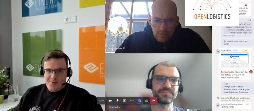 #WirvsVirus – EIKONA unterstützt Krisen-Lieferkettenmanagement mit kostenloser Plattform OpenLogistics.net – Sebastian Kremer (links), Manuel Drescher (oben), Stefan Seufert (unten) und Bastian Späth (kleines Bild) während des Hackathons #WirvsVirus. Quelle: EIKONA Logistics.