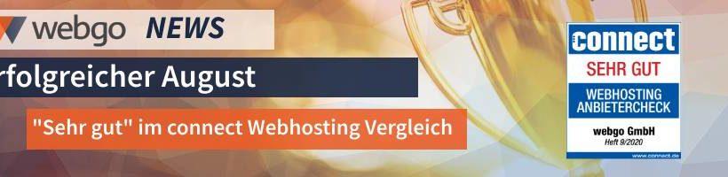 """webgo erhaelt """"sehr gut"""" im connect Webhosting Vergleich 2020"""