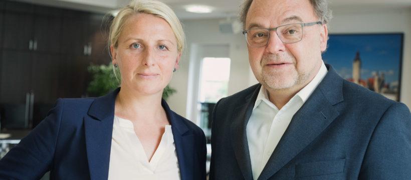 Der Lipsia-Vorstand: Nelly Keding, Vorstandsvorsitzende und Vorstand Wohnungswirtschaft, und Rolf Pflüger, Vorstand Finanzwirtschaft. Copyright: Lipsia.